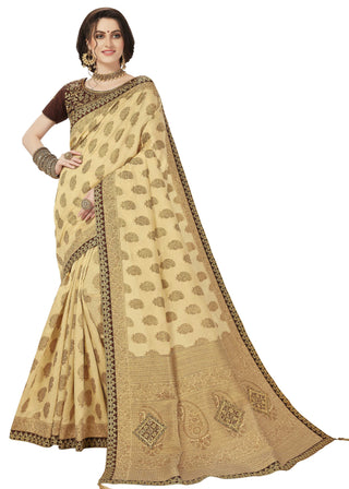Beige Banarasi Silk Party Wear Saree With Coffee Blouse
