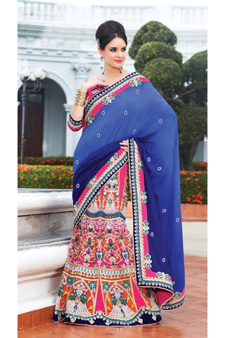 Designer Saree wit chiffon pallu, inner of net and shantung, blouse of dhuphian, blue pallue and hand worked