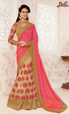 Pink , Beige,Georgette,Designer party wear saree