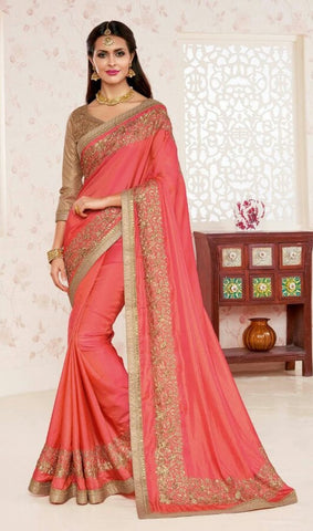 Peach,Chiffon,Designer party wear saree