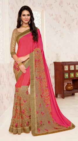 Peach , Beige,Net,Designer party wear saree