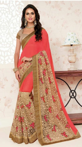 Red,Crepe,Designer party wear saree
