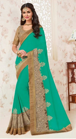 Cyan,Georgette,Designer party wear saree