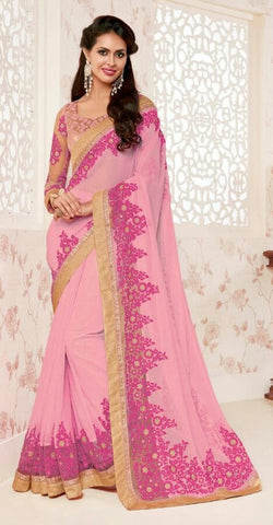 Purple,Georgette,Designer party wear saree