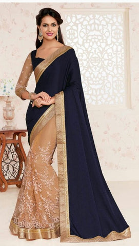 Blue , beige,Georgette,Designer party wear saree