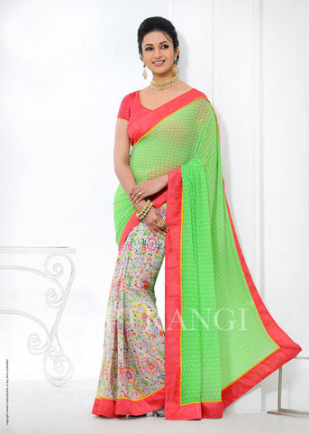 Bamberg Poly Georgette Green and Pink Saree