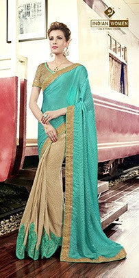Cyan , Beige,Satin Chiffon,Party wear designer saree