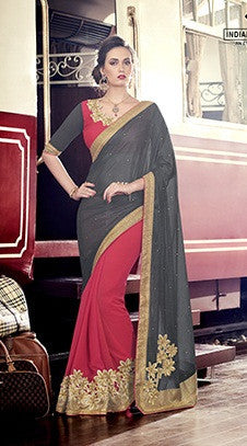 Grey , Pink,Marble Chiffon,Party wear designer saree