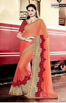 Orange,Moss Chiffon,Party wear designer saree