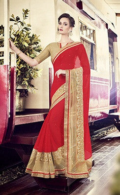 Red,Moss Chiffon,Party wear designer saree