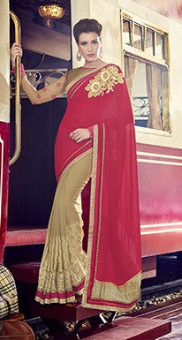Red , Beige,Moss Chiffon,Party wear designer saree