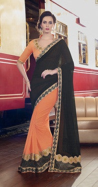 Black , Orange,Marble Chiffon,Party wear designer saree