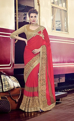 Red,Marble,Party wear designer saree