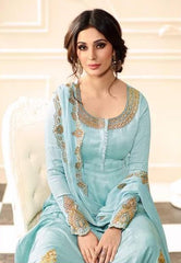 Light Blue Silk Party Wear Salwar Kameez With Light Blue Dupatta