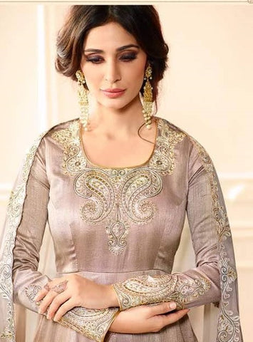 Silver Pink Silk Party Wear Salwar Kameez With Silver Pink Dupatta