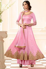 Pink Silk Party Wear Salwar Kameez With Pink Dupatta