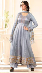 Grey Silk Party Wear Suit With Grey Dupatta