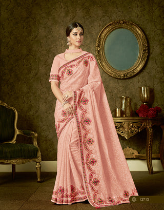 Peach Organza Party Wear  Saree With Blouse