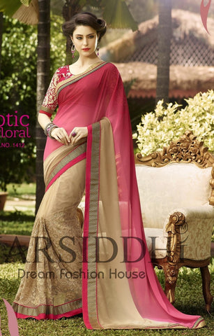Pink and beige double shaded saree