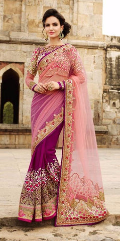 Falsa and light pink,Net ,Heavy bridal wedding saree with heavy embroidery blouse