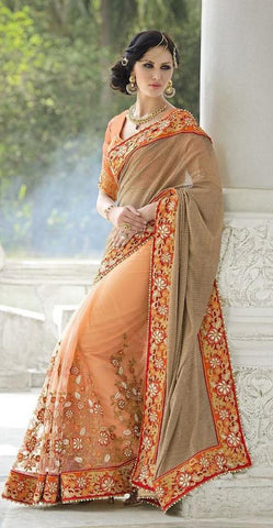 Peach,Net,Heavy bridal wedding saree with heavy embroidery blouse