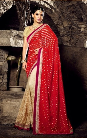 Saree Beige & red,Viscose