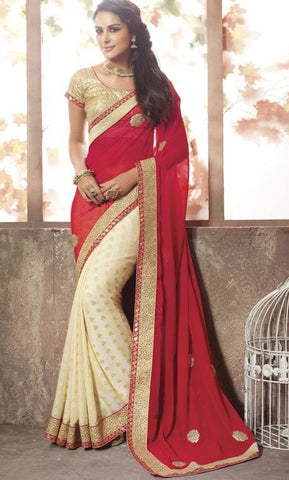 Saree Red & Cream,Viscos