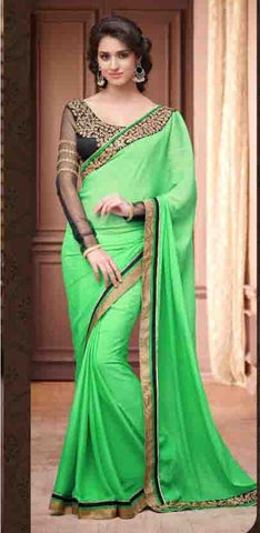Saree Green , Black,Chiffon