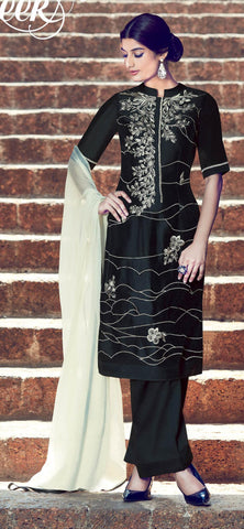 Black,Cotton satin,Designer straight party wear salwar suits