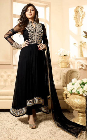 Black,Georgette,Heavy designer party wear suits
