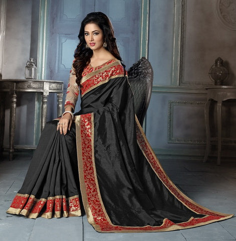 Black,Art silk,Party wear designer saree