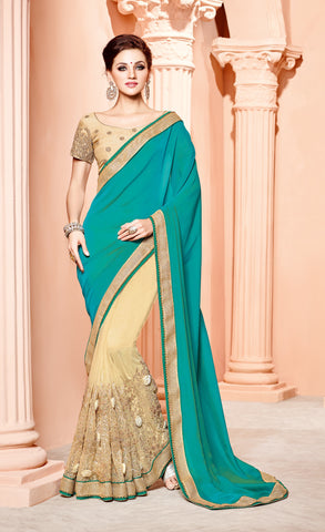 Beige & Cyan Silk Saree With Golden Blouse