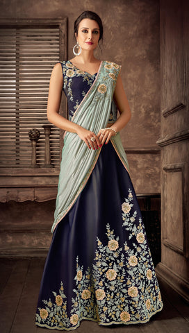 Blue Taffeta Silk Party Wear Lehenga With Sky Blue Dupatta