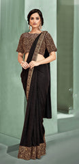 Brown Lycra Party Wear Saree With Brown Blouse