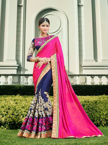 Blue , Pink,Georgette,Party wear heavy saree
