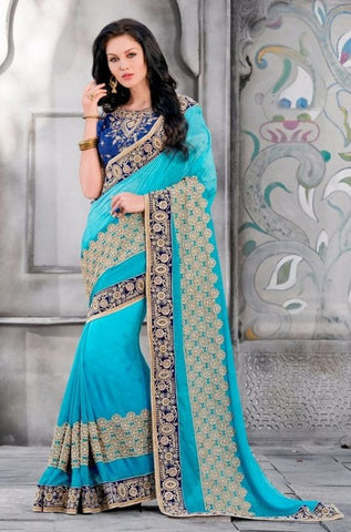 Blue,Jaquard,Heavy designer party wear saree