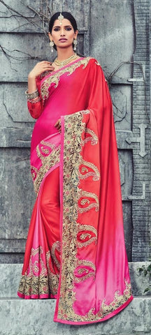 Red,Satin  ,Designer wedding lehenga saree