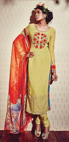 Yellow,Georgette,Straight designer suits online