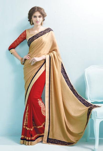 Beige , Red,Georgette,Causal designer party wear saree
