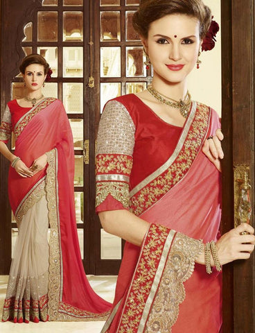 Shop Designer Red and Beige Saree in Embroidery work