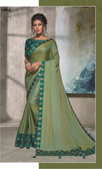 Blue-Green Silk Party Wear  Saree With Turquoise Green Blouse