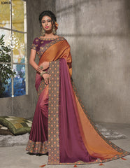 Orange-Wine Silk Party Wear  Saree With Wine Blouse
