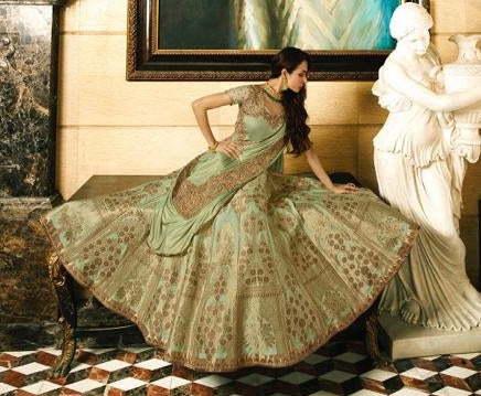 Green Banarsi Silk Party Wear  Lehenga With Green Dupatta