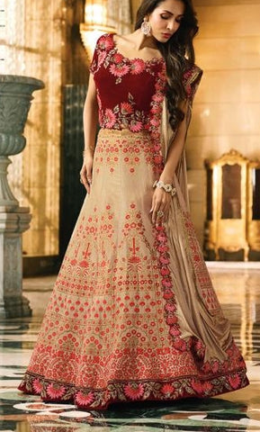 Beige Banarsi Silk Party Wear  Lehenga With Beige Dupatta