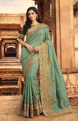 Pastel Blue Silk Party Wear Saree With Blue Blouse