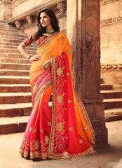 Orangish Peach Silk Party Wear Saree With Maroon Blouse