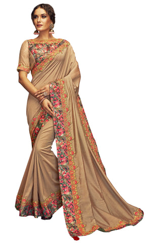 Beige Dual Tone Silk Party Wear Saree With Multicolor Blouse