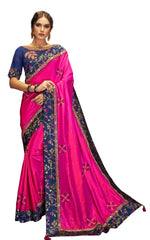 Magenta  Dual Tone Silk Party Wear Saree With Blue Blouse