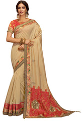 Cream Silk Georgette Party Wear Saree With Red Blouse