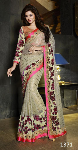 Beige,Velvet,Heavy designer saree with heavy work